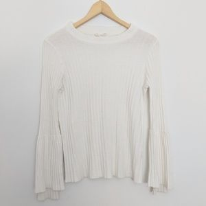 Anthropologie Moth Ribbed Wool Bell Sleeve Sweater